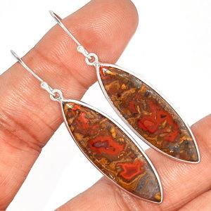 Jewelry - natural Seam Agate Earrings 925